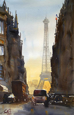 Paris Street Scene Painting - Dawn In Paris by James Nyika