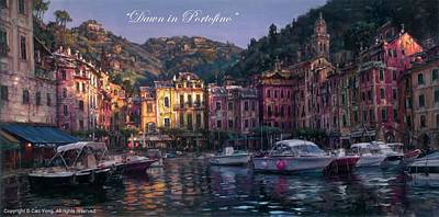 Painting - Dawn In Portofino by Cao Yong