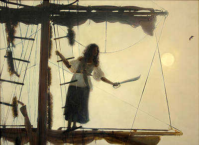 Tall Ships. Pirates Ships Painting - Dawn In The Rigging by Donna Lee Nyzio