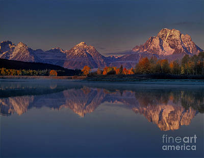 Photograph - Dawn Light On The Tetons Reflected In The Snake River Grand Tetons National Park by Dave Welling