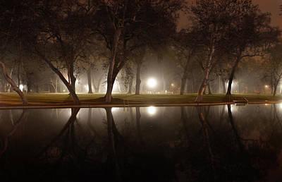 Dawn Mist Rising At Sycamore Pool  Art Print