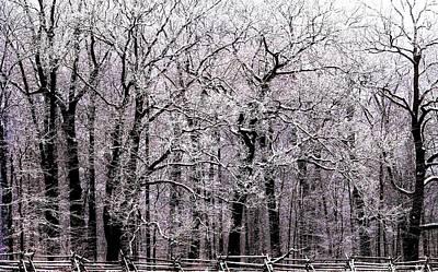 Split Rail Fence Photograph - Dawn Of Winter by Angela Davies