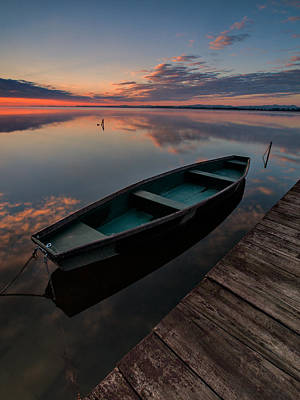 Boat Pier Photograph - Dawn On Lake by Davorin Mance