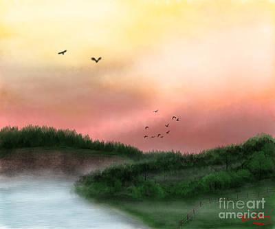 Dawn On The Lake Art Print