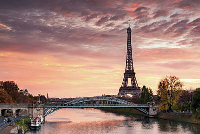 Dawn Over Eiffel Tower And Seine Art Print by Matteo Colombo