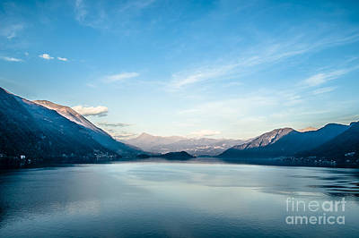 Dawn Over Mountains Lake Como Italy Art Print