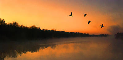 Geese Painting - Dawn Patrol by Steven Richardson