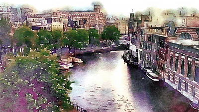 Print featuring the photograph Dawn Rain Amsterdam by Susan Maxwell Schmidt
