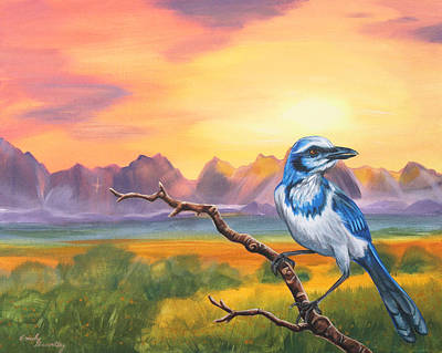 Bluejay Painting - Dawn Sentinel by Emily Brantley