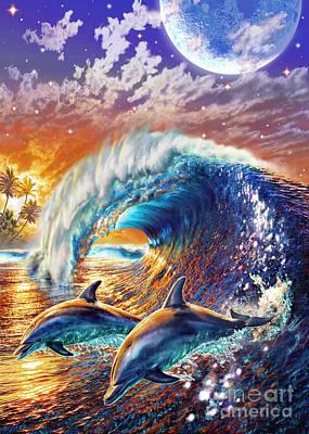 Dolphin Digital Art - Atlantic Dolphins by Adrian Chesterman