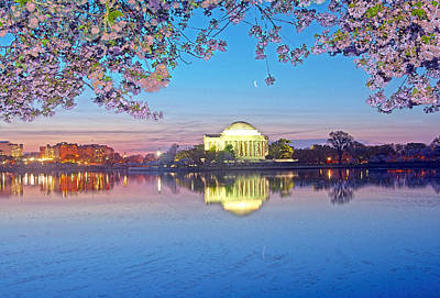 Jefferson Memorial Digital Art - Dawn With Cherry Blossoms And Waning Crescent Moon by Steven Barrows