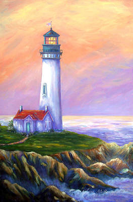 Painting - Dawn's Early Light Yaquina Head Lighthouse by Glenna McRae