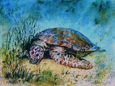 Painting -  Giant Sea Turtle by Virginia Potter