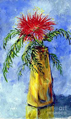 Painting -  Mimosa In A Vase by Virginia Potter