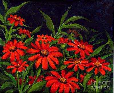 Painting - Red Zennias by Virginia Potter