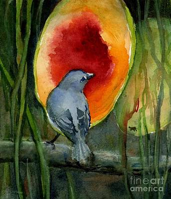 Painting - Day 22 Sayaca Tanager Feeding On Papaya by Virginia Potter