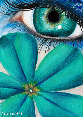 Forget Me Not Flowers Drawing - Day 38 Aceo by Alaina Ferguson
