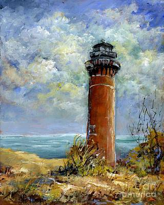 Painting - Little Au Sable Point Lighthouse Michigan by Virginia Potter