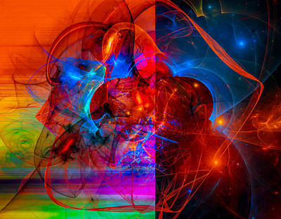 Colorful Digital Abstract Art - Day And Night Art Print