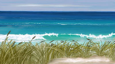 Art Print featuring the digital art Day At The Beach by Anthony Fishburne