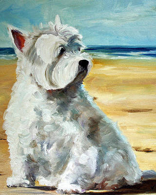 White Dog Painting - Day At The Beach by Mary Sparrow