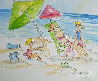 Day At The Beach Art Print by Jill Morris