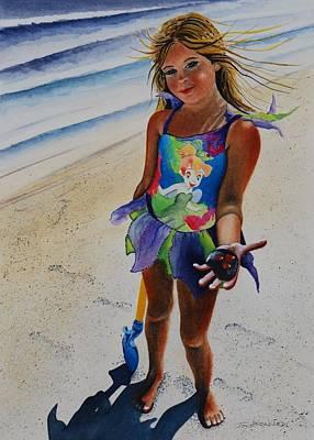 Day At The Beach Art Print by Joy Bradley