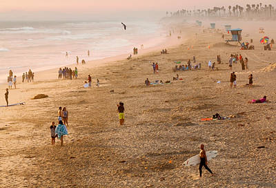 Day At The Beach - Sunset Huntington Beach California Art Print