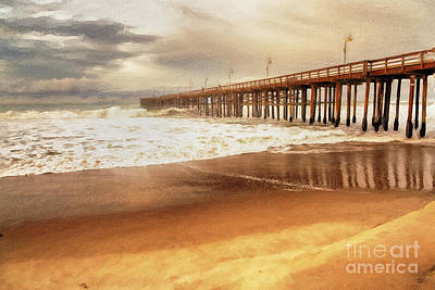 Shore Painting - Day At The Pier by David Millenheft