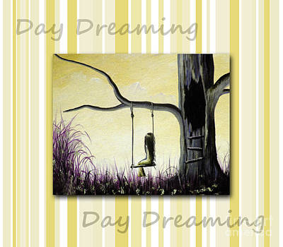 Child Swinging Painting - Day Dreaming In Yellow By Shawna Erback by Shawna Erback