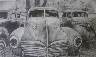 Rusted Cars Drawing - Forgotten Classics  by Shannon  Savage