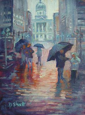 Monument Circle Painting - Day For Ducks by Donna Shortt