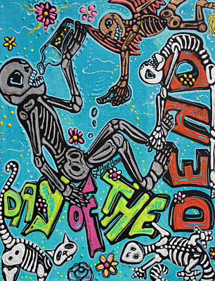 Skeleton Painting - Day Of The Dead Celebration by Laura Barbosa