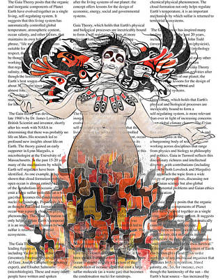 Raven Digital Art - Day Of The Dead Gaia In Flames With Text Illustration Print by Sassan Filsoof