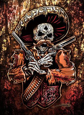 Gun Fighter Painting - Day Of The Dead Gunslinger by Michael Spano