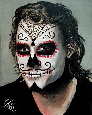 Heath Ledger Wall Art - Painting - Day Of The Dead - Heath Ledger by Tom Carlton