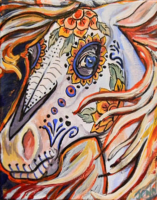 Day Of The Dead Horse Art Print by Jenn Cunningham