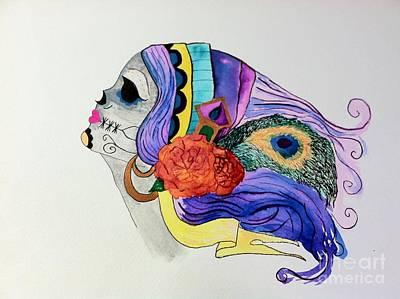Day Of The Dead Lady 2 Art Print by Melissa Darnell Glowacki