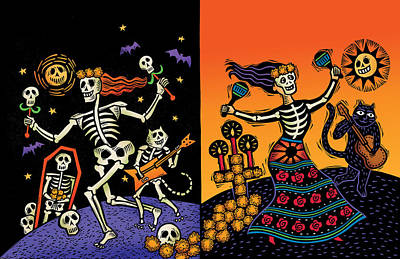 Cemetary Drawing - Day Of The Dead by Sue Todd