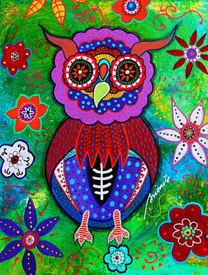 Painting - Day Of The Dead Talavera Owl by Pristine Cartera Turkus