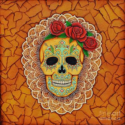 Art Print featuring the painting Day Of The Dead With Roses And Lace by Joseph Sonday