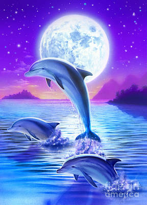 Sea Moon Full Moon Digital Art - Day Of The Dolphin by Robin Koni
