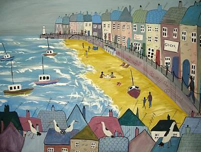 Day On The Beach Art Print by Trudy Kepke