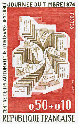 Mechanization Painting - Day Stamp 1974 Automatic Sorting Orleans-la-source by Lanjee Chee