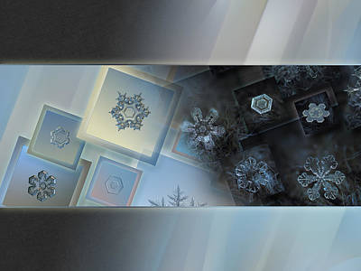 Abstract Photograph - Snowflake Collage - Daybreak by Alexey Kljatov