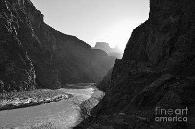Photograph - Daybreak Over The Colorado River Along Bright Angel Trail Grand Canyon National Park Black And White by Shawn O'Brien