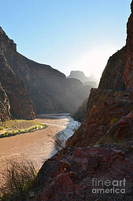 Daybreak Over The Colorado River Along Bright Angel Trail Grand Canyon National Park Vertical Art Print by Shawn O'Brien