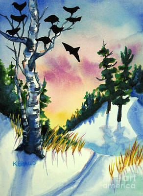 Daybreak Ski              Art Print by Kathy Braud