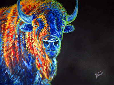 Bison Painting - Daybreaker by Teshia Art