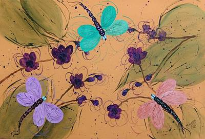 Painting - Daydream Orchids And Dragonfly by Cindy Micklos